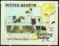 1w079 BATTLING BUTLER LC '26 wonderful image of Buster Keaton boxing in the ring, plus cool art!