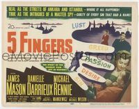 1y009 5 FINGERS title card '52 James Mason, Danielle Darrieux, true story of the most fabulous spy!