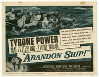 1y010 ABANDON SHIP title card '57 Tyrone Power & 25 survivors in a lifeboat which can hold only 12!