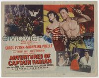 1y017 ADVENTURES OF CAPTAIN FABIAN TC '51 art of barechested Errol Flynn & sexy Micheline Prelle!