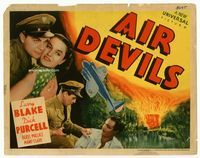 1y023 AIR DEVILS title lobby card '38 aviators Larry Blake & Dick Purcell both love Beryl Wallace!