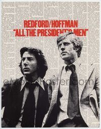 1y026 ALL THE PRESIDENT'S MEN TC '76 great vertical image of Dustin Hoffman & Robert Redford!