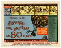 1y030 AROUND THE WORLD IN 80 DAYS movie title lobby card '58 great hot air balloon fantasy artwork!