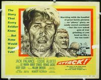 1y031 ATTACK movie title lobby card '56 Robert Aldrich, cool close up artwork of Jack Palance!