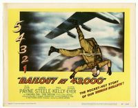 1y038 BAILOUT AT 43,000 title lobby card '57 the rocket-hot story of our human bullets, cool image!