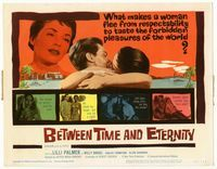 1y044 BETWEEN TIME & ETERNITY title lobby card '60 sexy Lilli Palmer flees from respectability!