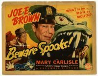 1y045 BEWARE SPOOKS title lobby card '39 is Joe E. Brown man or mouth?, Mary Carlisle, wacky image!