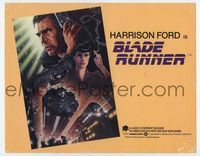 1y048 BLADE RUNNER title card '82 Ridley Scott sci-fi classic, art of Harrison Ford by John Alvin!