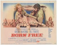 1y051 BORN FREE movie title lobby card '66 great image of Virginia McKenna & Bill Travers with lion!