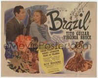 1y053 BRAZIL signed title lobby card '44 by Tito Guizar, who is with Virginia Bruce & Roy Rogers!