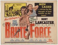 1y054 BRUTE FORCE title card R56 Jules Dassin, barechested Burt Lancaster & sexy Yvonne DeCarlo!