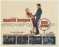 1y055 BUS STOP movie title lobby card '56 great image of Don Murray holding sexy Marilyn Monroe!