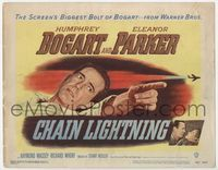 1y063 CHAIN LIGHTNING title lobby card '49 great artwork of military test pilot Humphrey Bogart!