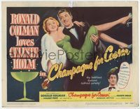 1y064 CHAMPAGNE FOR CAESAR title card '50 great artwork of Ronald Colman holding sexy Celeste Holm!
