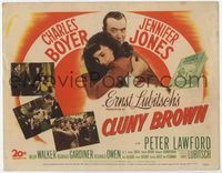 1y069 CLUNY BROWN title lobby card '46 Charles Boyer, Jennifer Jones, directed by Ernst Lubitsch!