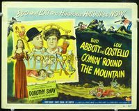 1y071 COMIN' ROUND THE MOUNTAIN title card '51 hilarious hillbillies Bud Abbott & Lou Costello!