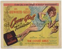 1y072 COVER GIRL title card '44 sexiest full-length Rita Hayworth laying down with flowing red hair!