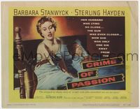 1y073 CRIME OF PASSION TC '57 sexy Barbara Stanwyck reaches for gun to shoot Sterling Hayden!