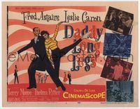 1y077 DADDY LONG LEGS title lobby card '55 wonderful art of Fred Astaire & Leslie Caron dancing!