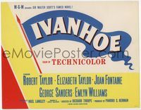 1y003 IVANHOE photolobby title card '52 artwork of Elizabeth Taylor, Robert Taylor & Joan Fontaine!
