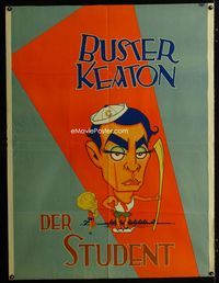 2b001 COLLEGE Austrian 38x49 movie poster '27 great wacky art of Buster Keaton by Hap Hadley!