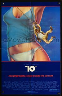2c029 '10' borderless one-sheet movie poster '79 sexy art of Dudley Moore swinging from Bo Derek!