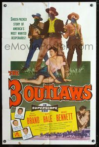 2c033 3 OUTLAWS one-sheet poster '56 Neville Brand & Alan Hale Jr, America's most wanted desperados!