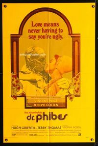 2c036 ABOMINABLE DR. PHIBES dayglo orange one-sheet '71 love means never having to say you're ugly!