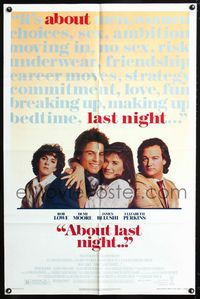 2c037 ABOUT LAST NIGHT one-sheet poster '86 Rob Lowe, Demi Moore, James Belushi, Elizabeth Perkins