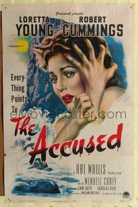 2c039 ACCUSED style A 1sh '49 great super close art of terrified sexy Loretta Young & dead body!