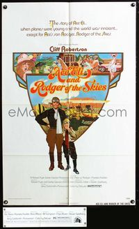 2c040 ACE ELI & RODGER OF THE SKIES 1sheet '72 pilot Cliff Robertson, written by Steven Spielberg!