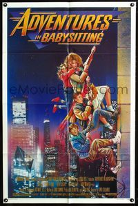 2c045 ADVENTURES IN BABYSITTING one-sheet '87 artwork of young Elizabeth Shue by Drew Struzan!
