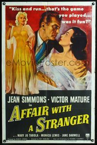 2c046 AFFAIR WITH A STRANGER 1sh '53 great artwork of Jean Simmons, Victor Mature & sexy bad girl!