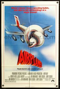 2c048 AIRPLANE one-sheet poster '80 classic zany parody by Jim Abrahams and David & Jerry Zucker!