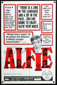 2c050 ALFIE one-sheet movie poster '66 British cad Michael Caine loves them and leaves them!