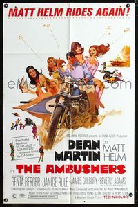 2c057 AMBUSHERS one-sheet poster '67 Dean Martin as Matt Helm with sexy Slaygirls on motorcycle!