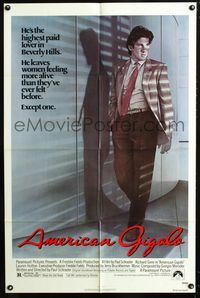 2c058 AMERICAN GIGOLO 1sheet '80 handsomest male prostitute Richard Gere is being framed for murder!