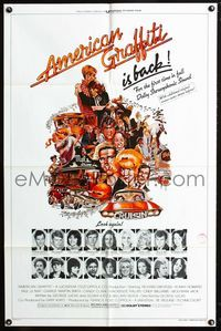 2c059 AMERICAN GRAFFITI one-sheet R78 George Lucas teen classic, great yearbook image of stars!