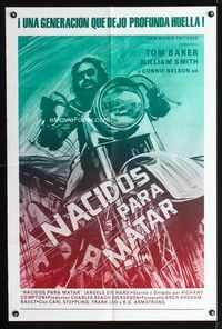2c066 ANGELS DIE HARD Spanish/U.S. 1sh '70 really cool different close up art of biker on his motorcycle!