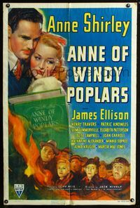 2c067 ANNE OF WINDY POPLARS 1sh '40 art of Anne Shirley & James Ellison, from L.M. Montgomery book!