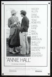 2c069 ANNIE HALL one-sheet poster '77 full-length Woody Allen & Diane Keaton, a nervous romance!