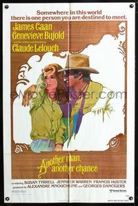 2c070 ANOTHER MAN ANOTHER CHANCE one-sheet '77 Claude Lelouch, art of James Caan & Genevieve Bujold!