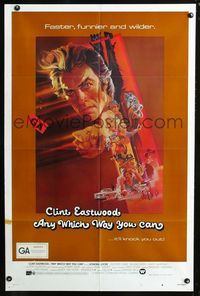 2c071 ANY WHICH WAY YOU CAN int'l one-sheet poster '80 cool artwork of Clint Eastwood by Bob Peak!