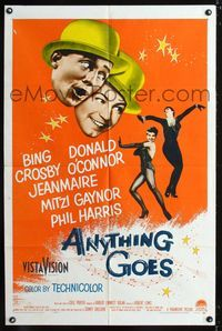 2c072 ANYTHING GOES one-sheet '56 Bing Crosby, Donald O'Connor, Jeanmarie, music by Cole Porter!