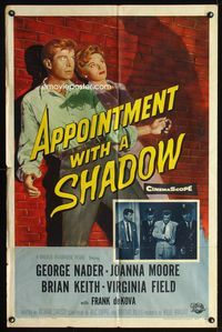 2c074 APPOINTMENT WITH A SHADOW one-sheet poster '58 cool noir artwork of silhouette pointing gun!