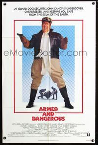 2c078 ARMED & DANGEROUS style B 1sh '86 great image of John Candy in pilot outfit keeping you safe!