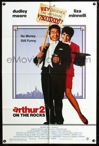 2c079 ARTHUR 2 one-sheet movie poster '88 rich alcoholic Dudley Moore is now broke, Liza Minnelli