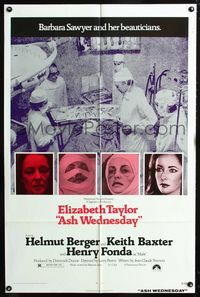 2c080 ASH WEDNESDAY one-sheet '73 beautiful aging Elizabeth Taylor gets extensive plastic surgery!