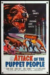 2c083 ATTACK OF THE PUPPET PEOPLE 1sh '58 great art of tiny people with steak knife attacking dog!
