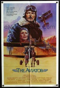 2c084 AVIATOR one-sheet '85 art of airplane pilot Christopher Reeve & Rosanna Arquette by Manchess!